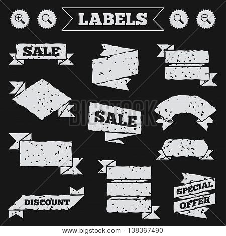Stickers, tags and banners with grunge. Magnifier glass icons. Plus and minus zoom tool symbols. Search information signs. Sale or discount labels. Vector