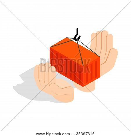 Hands holding container icon in isometric 3d style isolated on white background. Freight symbol