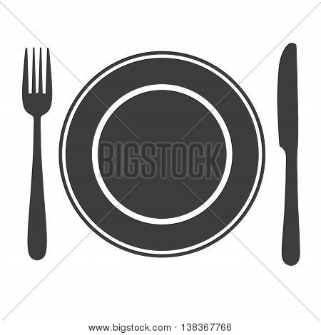 Plate with fork and knife icon laying the table, serve up symbol