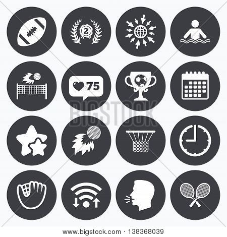 Calendar, wifi and clock symbols. Like counter, stars symbols. Sport games, fitness icons. Football, golf and baseball signs. Swimming, rugby and winner medal symbols. Talking head, go to web symbols. Vector
