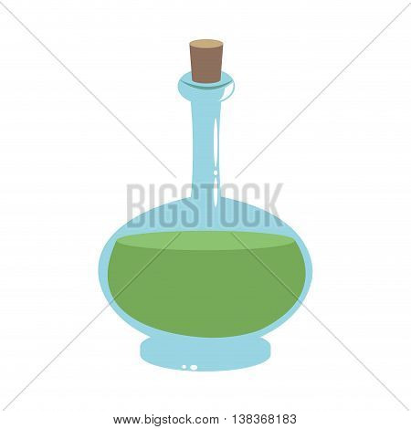 flat design glass bottle with cork icon vector illustration