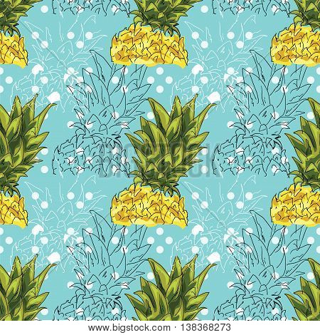 Hand Drawing. Illustration Of Pineapple On A Blue Background. Seamless Pattern.