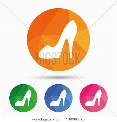 Women sign. Women's shoe icon. High heels shoe symbol. Triangular low poly button with flat icon. Vector