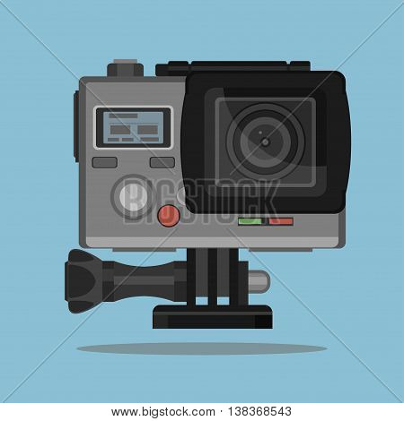 Camera for active extreme sports in waterproof case. high definition photo video action cam lens, flat vector