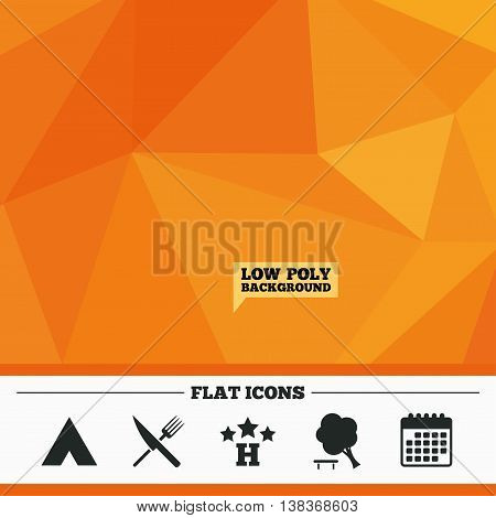 Triangular low poly orange background. Food, hotel, camping tent and tree icons. Knife and fork. Break down tree. Road signs. Calendar flat icon. Vector
