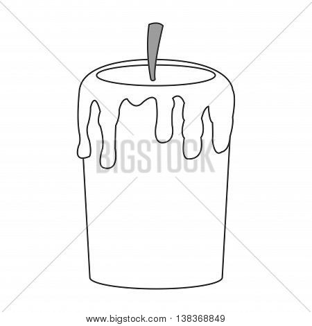 flat design single candle icon vector illustration