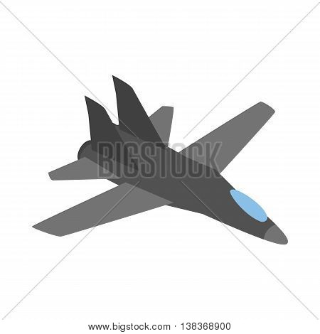 Military aircraft icon in isometric 3d style isolated on white background. Air transport symbol