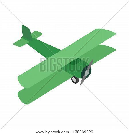 Green plane icon isolated on white background. Air transport symbol