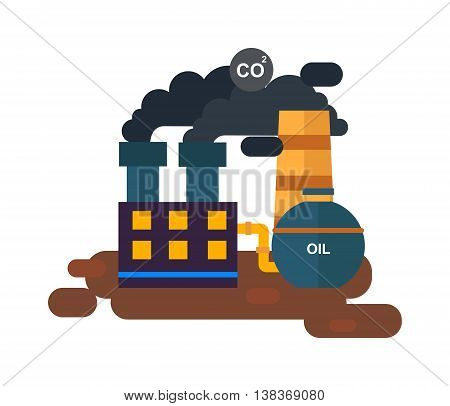 Flat factory power station flat vector illustration. Factory station vector. Factory building with black smoke, station energy industry. Pollution problems station factory vector. Energy industry.