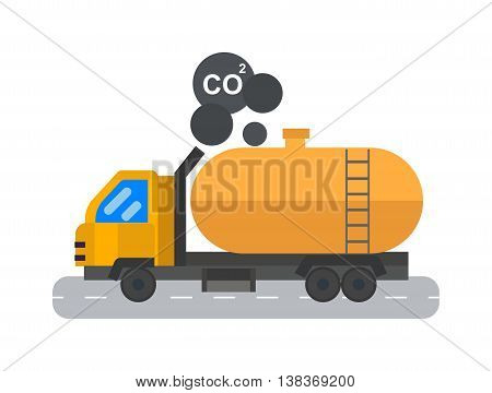 Oil logistic transportation business and oil logistic industrial transportation container. Oil logistic petroleum transportation, truck car, tanker metal barrel flat vector illustration.