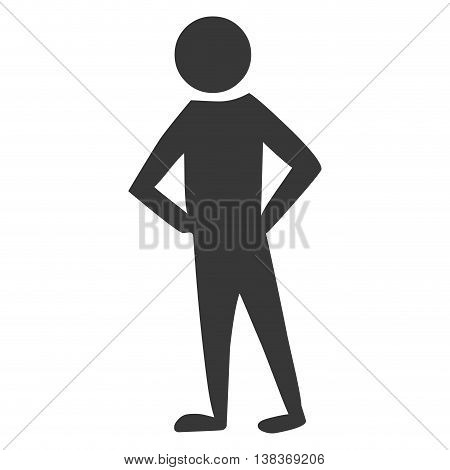 Men pictogram with her hands in the waist in black and white  icon.