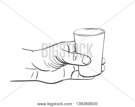 Vector sketch of glass in hand, Hand drawn illustration