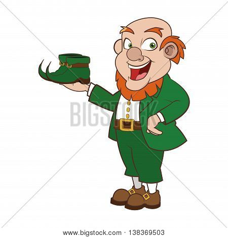 flat design leprechaun character with boots icon vector illustration