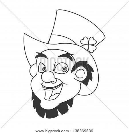 flat design leprechaun character icon vector illustration