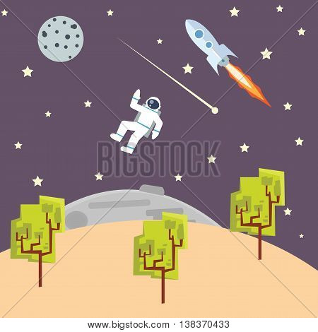 outer space illustration kids style with spaceman rocket space-ship vector