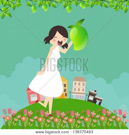 girl cartoon smile happy holding mango fruit with tree branch and leaf around in green field vector