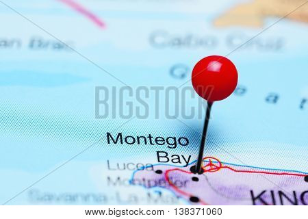 Montego Bay pinned on a map of Jamaica