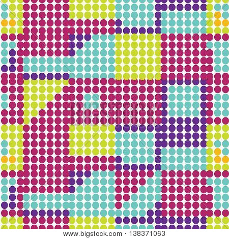 Set Of Seamless Pattern Of Colored Circles With Shades. Vector Illustration