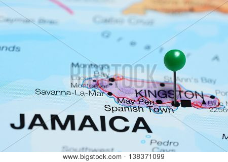 Spanish Town pinned on a map of Jamaica