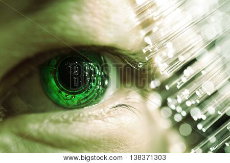 eye and electronic circuit with fiber optics