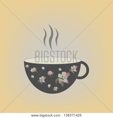Cap of tea illustration. Pattern floral. Vector.
