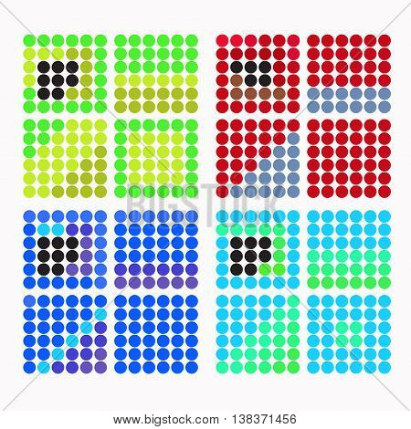 Set Of Colored Circles With Dark Blue Shades. Vector Illustration