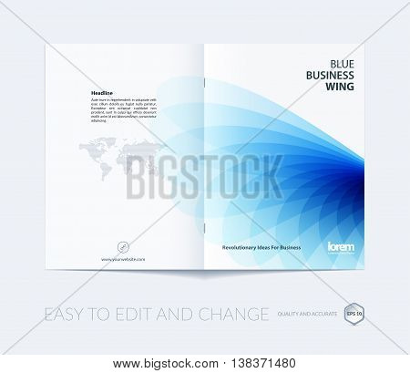 Brochure template layout, cover design annual report, magazine, flyer or booklet in A4 with blue soft wave flower shapes for business and beauty template with beautiful overlap effect. Vector.