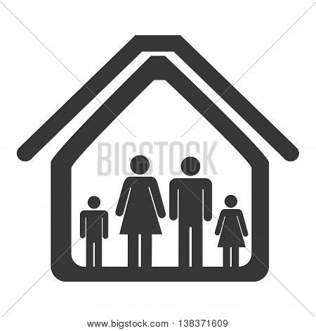 Family in home isolated flat icon, black and white colors vector illustration.