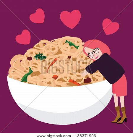 woman addicted to instant noodles loves her big bowl of noodles