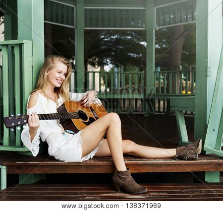 Woman Playing Guitar Leisure Hobby Concept