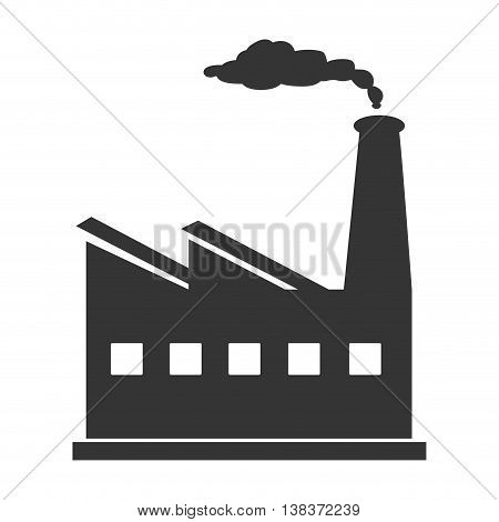 Factory working in black and white colors, vector illustration graphic.