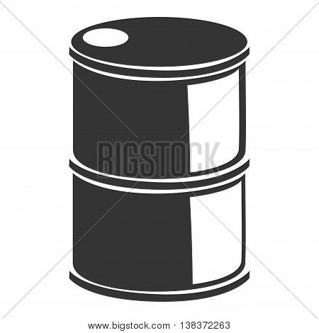 Petroleum barrel in black and white colors, vector illustration graphic.