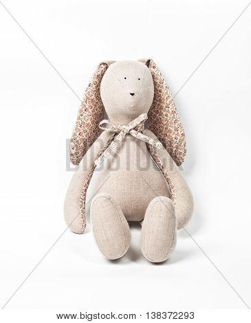 fluffy rabbit toy on isolated white background