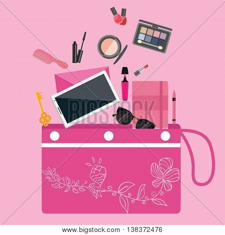 make up cosmetics tools collection inside girls bag purse pouch pink color vector