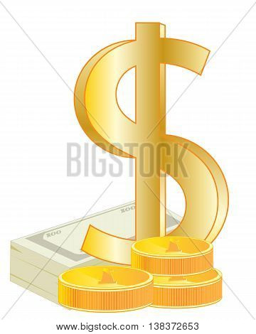 Sign dollar from gild on white background is insulated