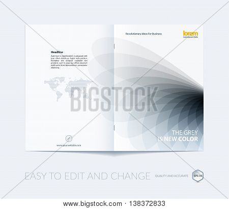 Brochure template layout, cover design annual report, magazine, flyer or booklet in A4 with grey soft wave flower shapes for business and beauty template with beautiful overlap effect. Vector.