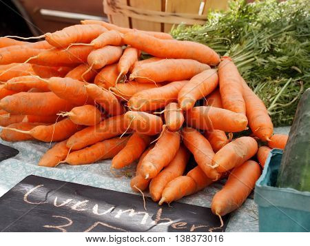 A pile of fresh carrots on a table top at a countryside farmer's market.