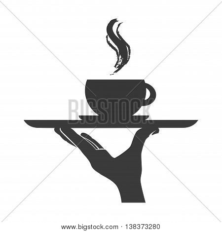 Waiter serving a dish in black and white colors, vector illustration graphic.