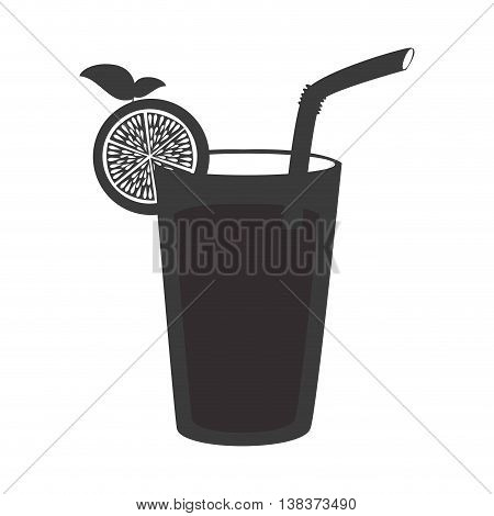 Delicious and fresh lemonade with straw in black and white colors, vector illustration graphic.