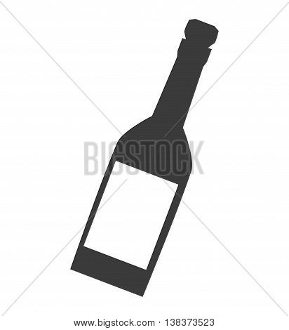 wine or champagne bottle in black and white colors, vector illustration graphic.