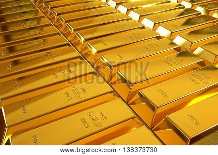 rows of rendered gold bars in a perspective view, 3d rendering