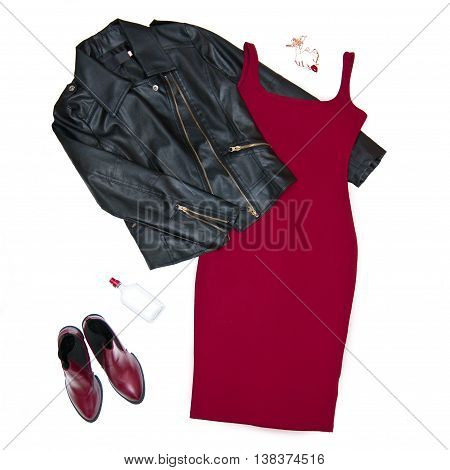 Fashion still life Women's clothing Black leather jacket red dress shoes perfume necklace Top view