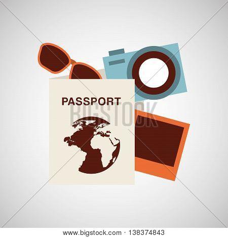passport travel camera sunglasses isolated, vector illustration eps10