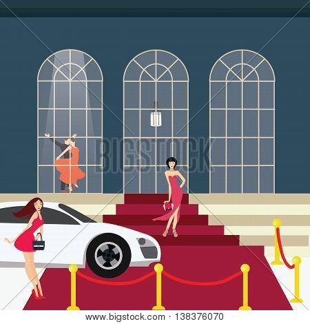 red carpet girl from car glamour party vector