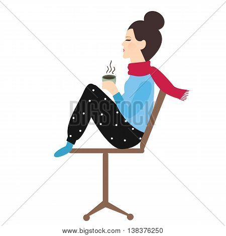 woman holding coffee tea mug in chair enjoy her drink in cold weather vector