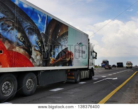 ROSTOV / DON. RUSSIA. M4-DON. 16.06.2016. The trailer transports cars on the highway M4 Don. June 16. Russia