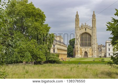 Cambridge England - July 7 2016: View of the ancient buildings of King college of Our Lady and Saint Nicholas in Cambridge England.