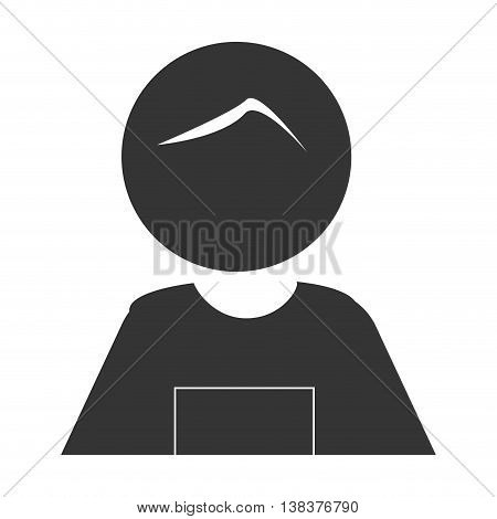 Grandfather in pictogram design, isolated flat icon with black and white colors.