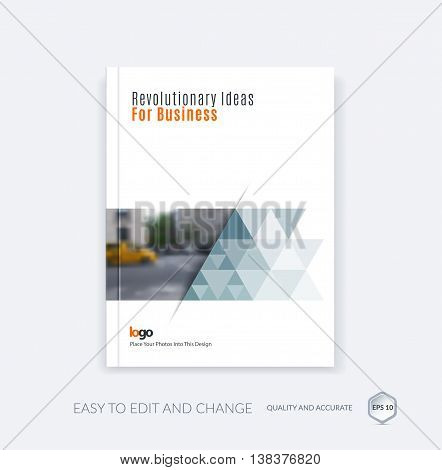 Abstract brochure template, cover design annual report, magazine, flyer, leaflet in A4 with triangular shapes for business, technology in polygonal style with overlay effect. Vector.