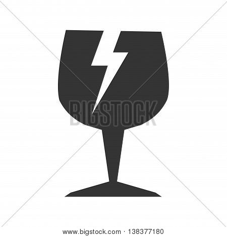 fragile symbol in black and white colors, vector illustration graphic.